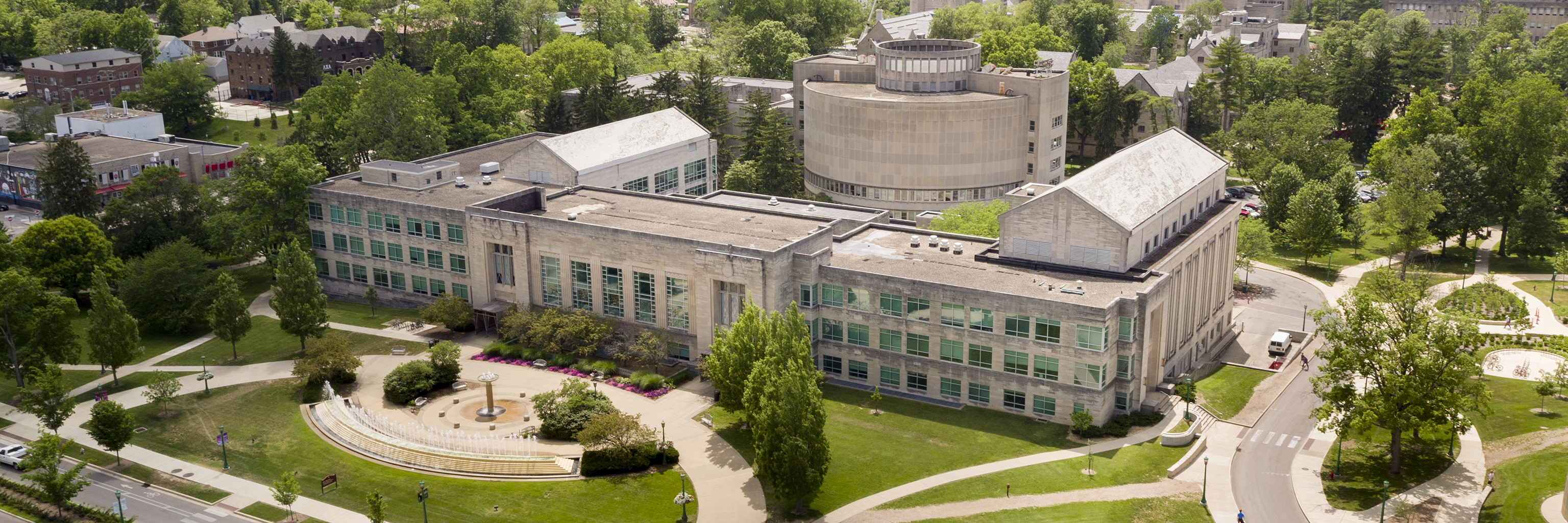 Aerial image of the Speech and Hearing Building on the Indiana University Bloomington campus.